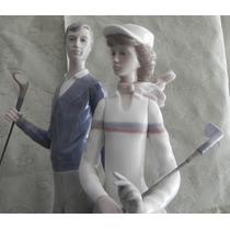 Escultura Porcelana Española Lladro Jugando Golf Excelentes
