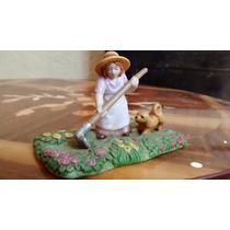 Jardinera Con Perro Figura De Porcelana Antigua