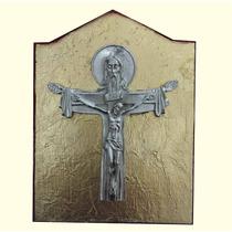 Cuadro Religioso 5.- Cruz Con Cristo Con Acabado Niquelado