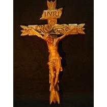 Cristo 40x23cm Madera Cedro Crucifijo Tallado Envío Gratis!