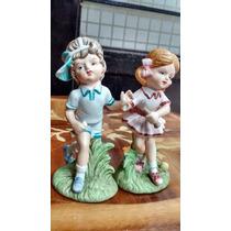 Niños Tenistas Figuras De Porcelana Antigua