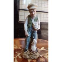 Viejito Con Cocker Figura De Porcelana Antigua