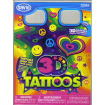Tatuajes Temporales En 3d, Con Lentes, Modelo Happy