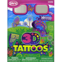 Tatuajes Temporales En 3d, Con Lentes, Modelo Mariposa