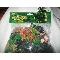 Gcg Figuras De Soldados Verdes Y Beige Plastico 60 Pzas