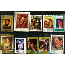 0780 Pinturas Famosas Dif Países 10 Sellos Usados Modernos