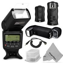 Kit Flash Ttl+disparador+receptor+difusor Para Canon Nikon