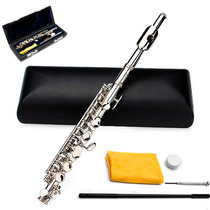 Piccolo Flautin Flauta Lade Plata Estuche Orificio Cerrado