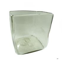 Florero Cuadrado De Vidrio Soplado 13 X 13 Cms