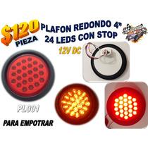 Plafon Redondo 4 Pulg 24 Led Empotrar Cuarto/stop Rojo Pl001