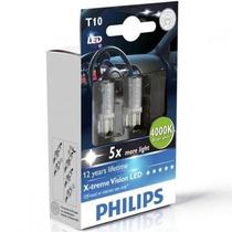 Led T10 Focos De Pellizco Philips 6000k Xenon White