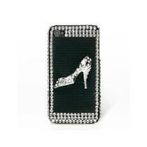 Funda Iphone 4s / 4 Pedrería 3d Negra Zapatilla Plata