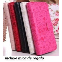 Lanix Illium S120 Cartera Fashion Piel Cute + Mica Promocion