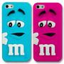 Funda 3d M&m Case Chocolate Iphone 4 4s Azul Y Rosa