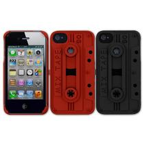 Funda Iphone 4 Y 4s Cassette Rojo Negro Freshfiber Original