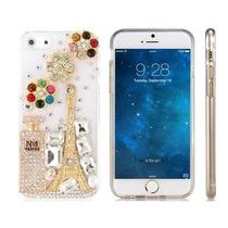 Funda Iphone 6 Cristal Pedrería Torre Eiffel Flores