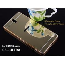 Funda Sony C5 Ultra Bumper Aluminio Espejo + Mica Gratis