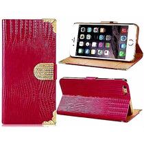 Funda Iphone 6 Plus Rojo Encendido Patrón Piel Cocodrilo