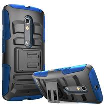 Funda Case Triple Uso Rudo Con Clip Moto X Play Xt1563 Azul