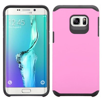 Funda Protector Mixto Samsung S6 Edge Plus Rosa / Negro