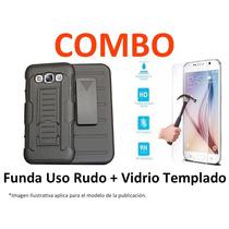 Funda Protector Uso Rudo + Vidrio Templado Huawei Ascend G7