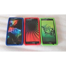 3 Covers Silicón Para Droid Razr Hd 3 Covers Verde Rojo Azul