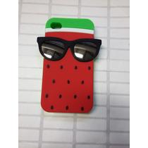 Protector Goma Botarga 3d Sandia Con Lentes Iphone 4 / 4s