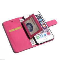 Iphone 6 Plus Funda En Piel Iman Alcierre Cartera Mica+pluma