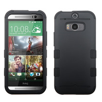 Funda Protector Mixto Htc One M8 Negro Mate Triple Layer