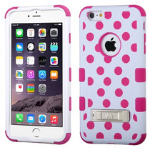 Funda Protector Apple Iphone 6 Plus Blanco Puntos Rosas Trip