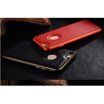 Funda Piel Iphone 5/5s/6/6s Bumper Aluminio + Protector Piel