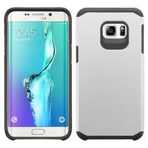 Funda Protector Mixto Samsung S6 Edge Plus Plata / Negro