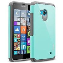 Lumia 640 Case, Ranzâ® Gris Con Doble Impacto Aqua Blue Dura
