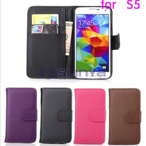 Funda Cartera Flip Cover Galaxy S5 De Piel, Mejor Imposible!