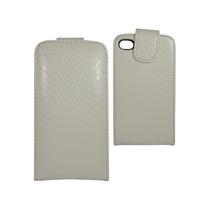 Iphone 4 4s Funda Flip Cover Vertical Tipo Vibora Blanca