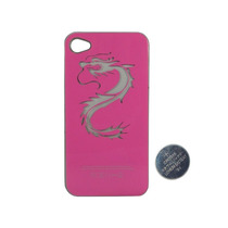 Carcaza Funda Led Iphone 4 4s Luz Varios Colores Dragon Rosa