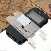 Iphone 6 Funda Flip Piel Negro /azul Mica+pluma Envio Gratis