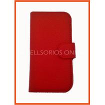 Moto E Funda Flip Cover Cartera Protector Rojo Mejor Calidad