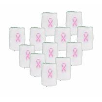12 Pack De Muñequera Con Moño Rosa Apoyo Contra El Cancer
