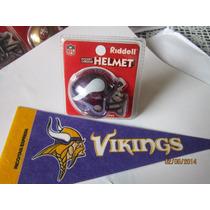 Casco Cromado Y Banderin Nfl Vikingos Minnesota / Hm4