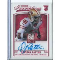 Quinton Patton Tarj C Autografo Elite 2013 49ers Rnt