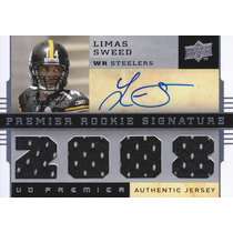2008 Rookie 4x Jersey Autografo Limas Sweed 21/275 Steelers