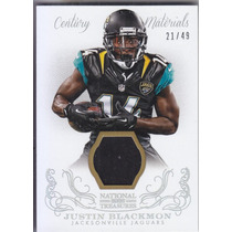 2013 National Treasures Prime Jersey Justin Blackmon Wr /49