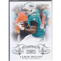 2013 National Treasures Base Lamar Miller Rb Dolphins 03/99
