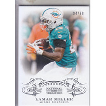 2013 National Treasures Base Lamar Miller Rb Dolphins 94/99