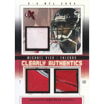 2004 E-x Clearly 3x Patch Jersey Michael Vick 8/13 Falcons