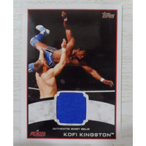 Tarjeta Topps Raw Kofi Kingston Autentic Shirt Relic Wwe