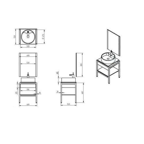 Gabinetes Para Baño Minimalistas:Gabinete Baño Lavabo Minimalista Espejo Gb 2035 26a Gravita – $ 7,290