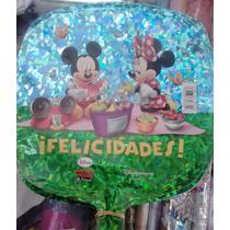 12 Globo Metalico 9pulg Mickey De Picnic Para Arreglo D Mesa