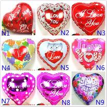 10 Globos San Valentin Con Base Y Popote 18 Pulgadas Helio